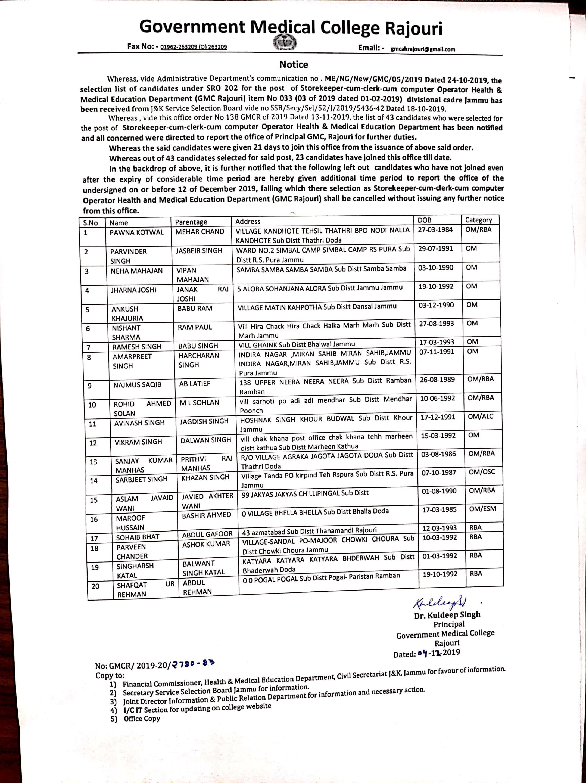 Orders Circulars Government Medical College Rajouri